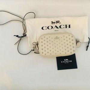 Coach Ivory with gold studs crossbody bag